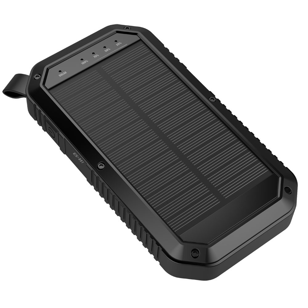 MENGS® ES981 Three USB Ports Camping Solar Mobile Power 8000mah Li-Battery Efficient Monocrystalline Silicon Solar Panel(Input DC 5V/2A, Output DC 5V/1A) With LED Emergency Torch Light For Almost Phones,Ipad,Camera,Etc Digital Device - Black