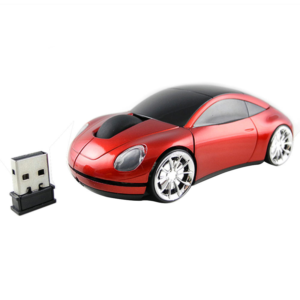 MENGS® 2.4G Wireless Optical Mouse 1600 DPI  Car Shaped Design - Red