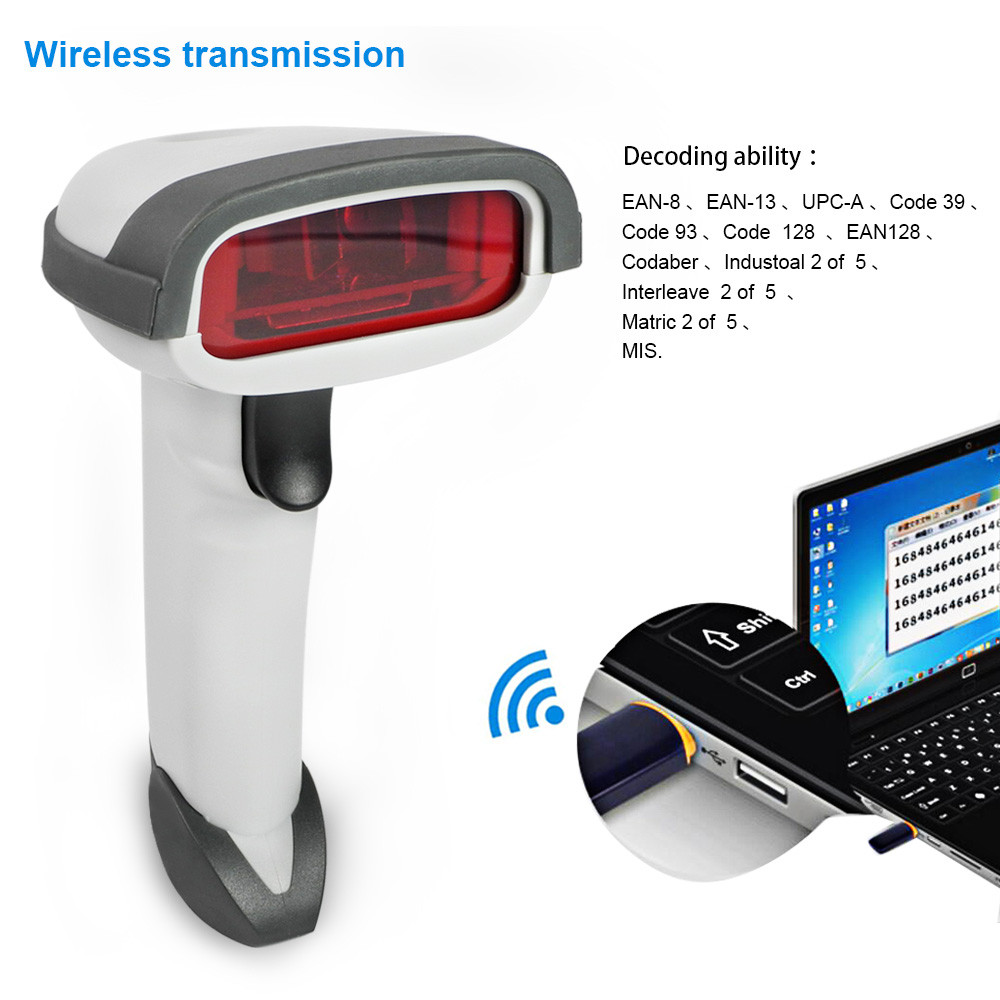 MENGS® CT980A 433MHz Wireless USB Handheld Laser Barcode Scanner