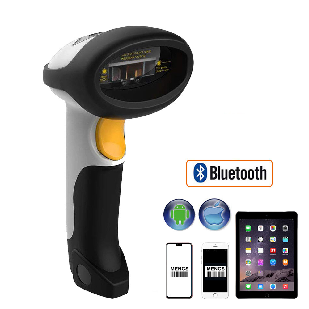 MENGS® CT10X USB Wired Bluetooth Wireless Laser Barcode Scanner Support Windows Android Mac and iOS auto-induction laser scanner gun