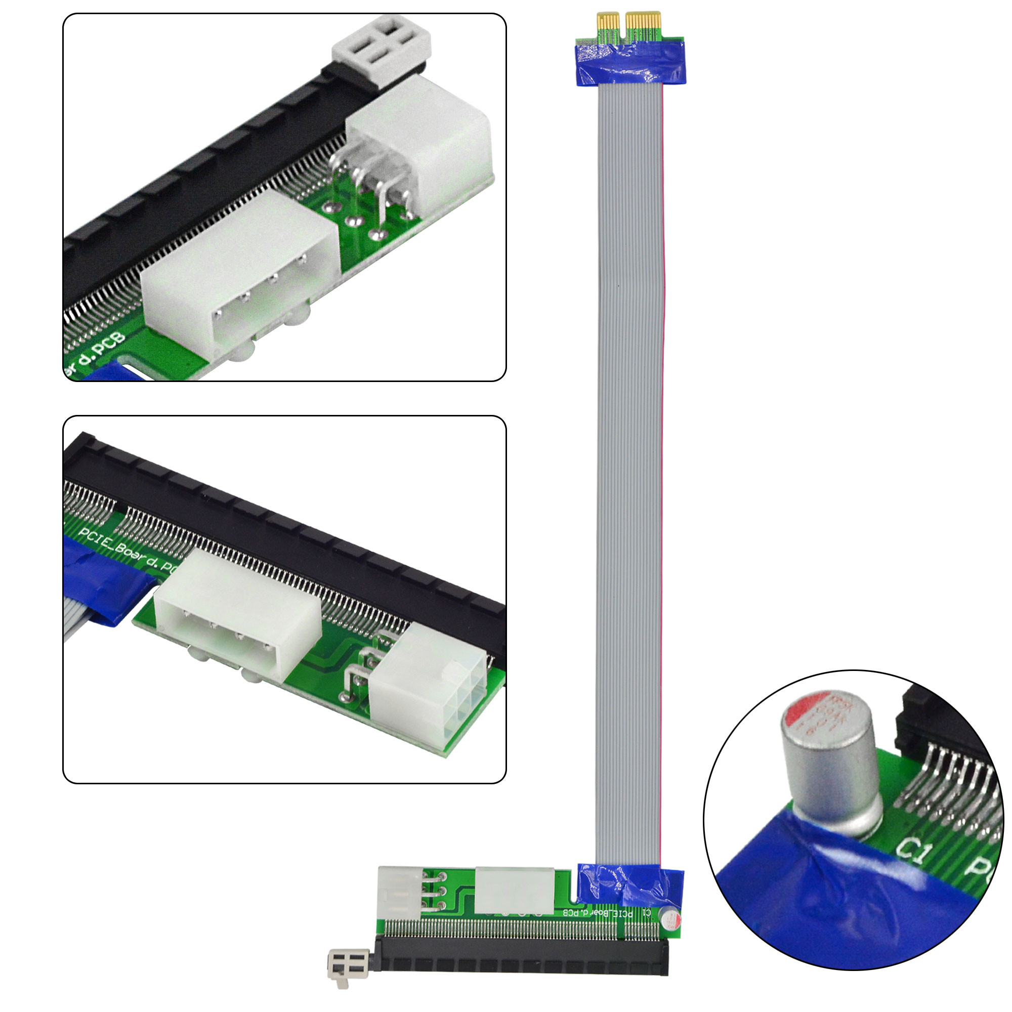 MENGS® PCI-E 1X to 16X Extender Riser Card Extension Cable + Dual Molex Power Connector for Bitcoin Mining - 257mm