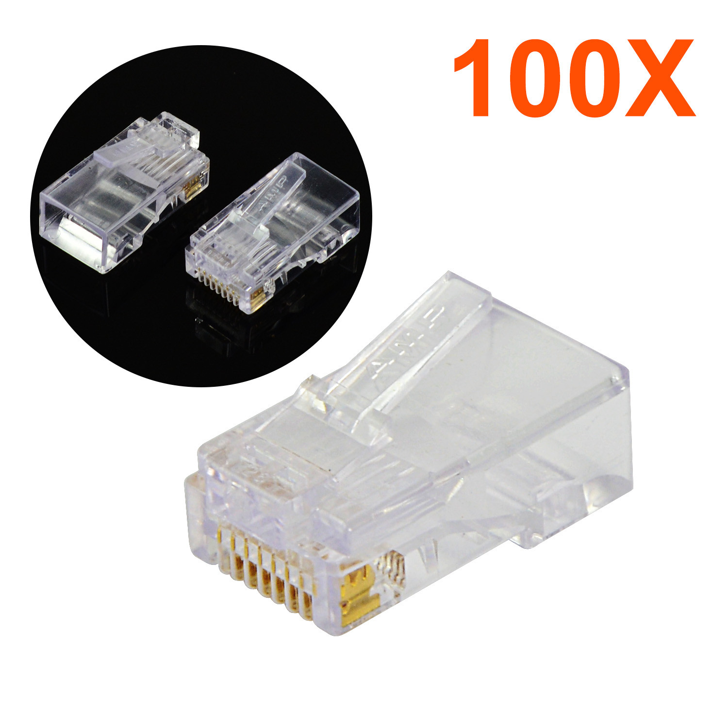 MENGS® 100pcs RJ45 Net Gold plated Network Modular Plug Cat5 CAT5e Cables Connector