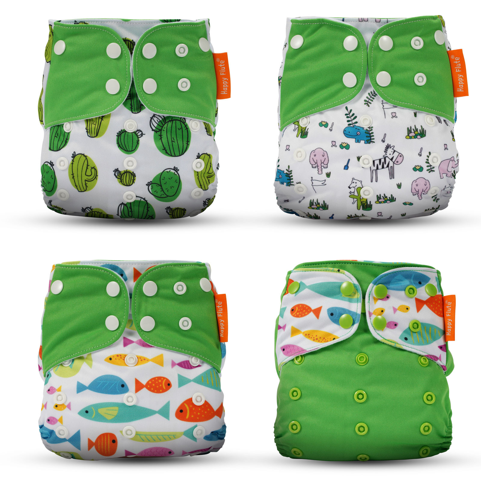 MENGS®  Baby Cloth Diapers 4 Pack Adjustable Washable and Reusable Pocket Diapers for Baby Girls