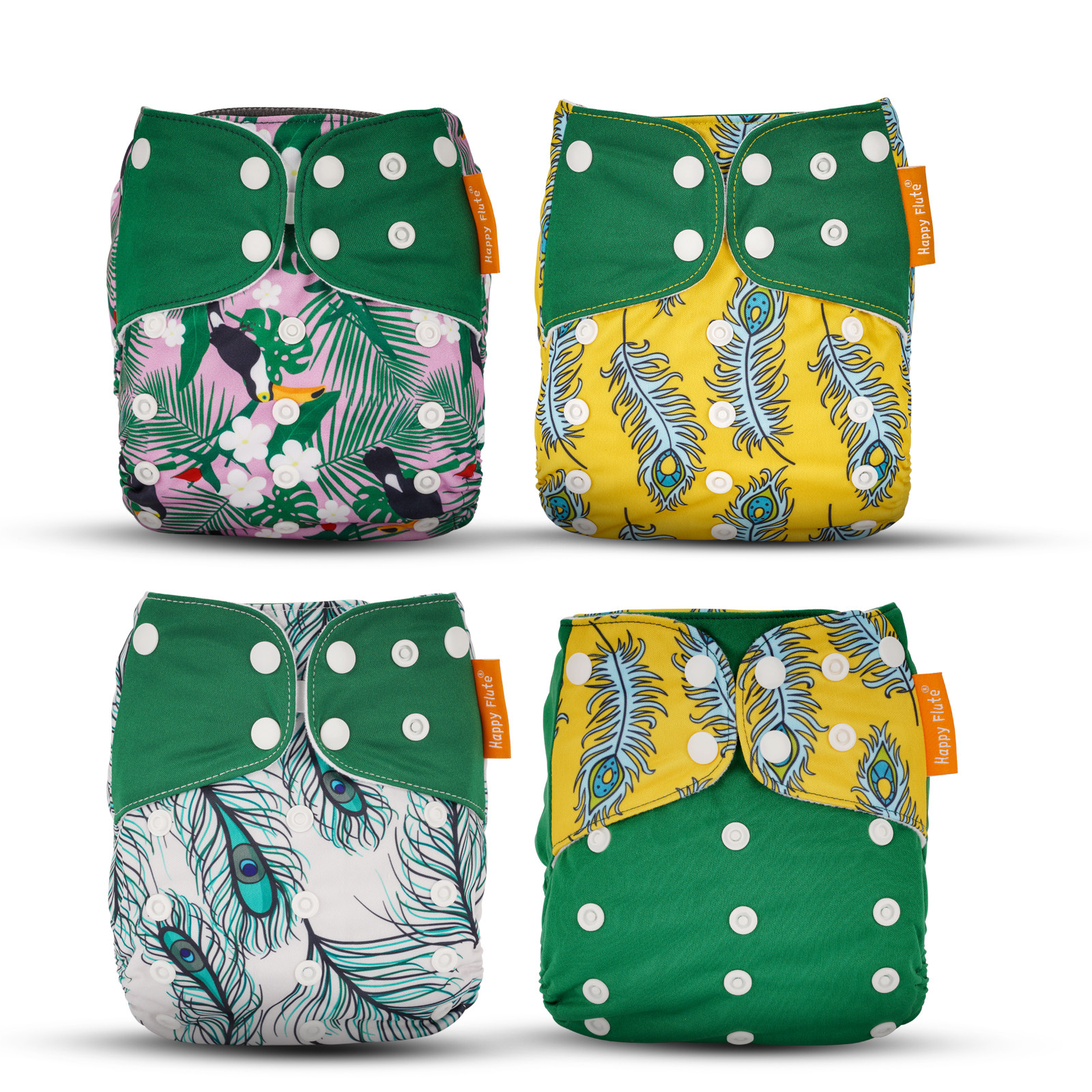 MENGS®  4 Pack Cloth Diapers Adjustable Washable And Reusable Pocket Diapers For Baby Girls