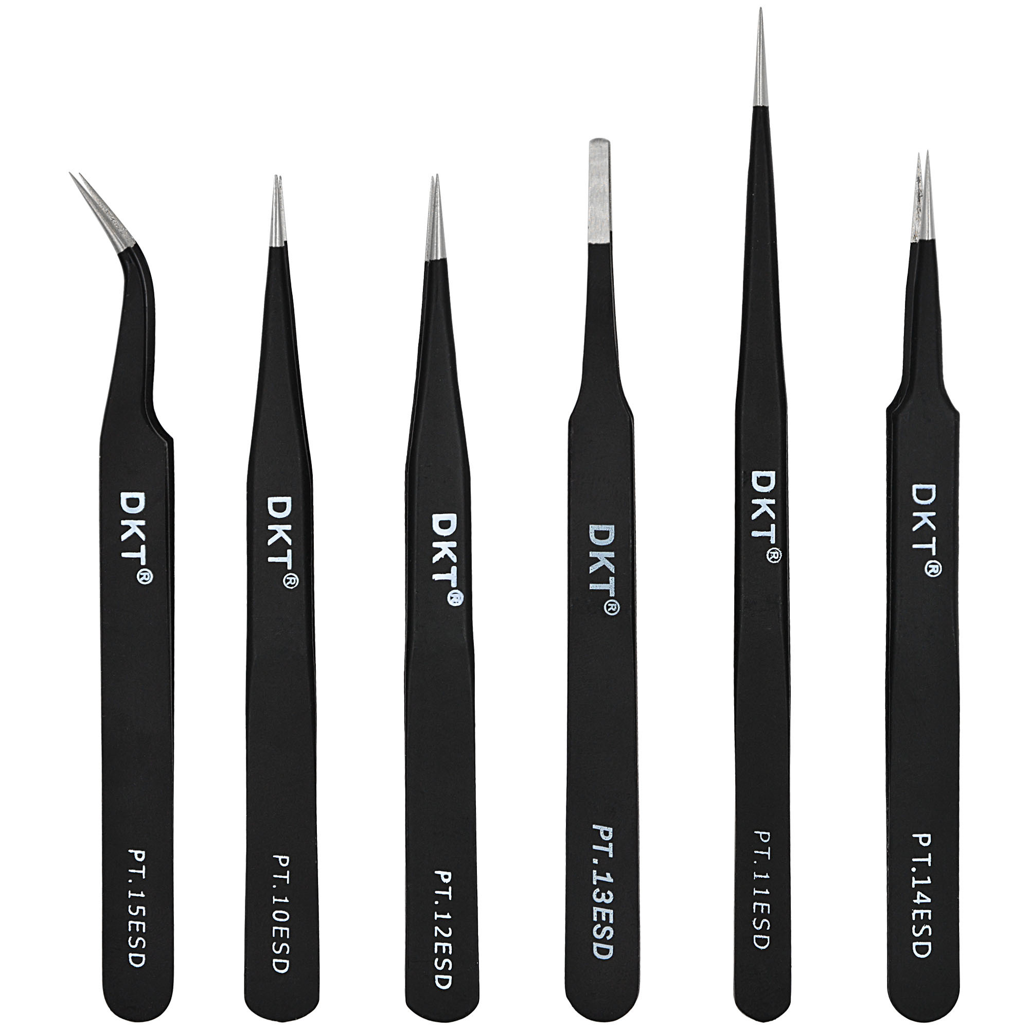 MENGS® 6Pcs/set Professional Safe Anti-static Tweezer Maintenance Repair Curved Tool Kit ESD