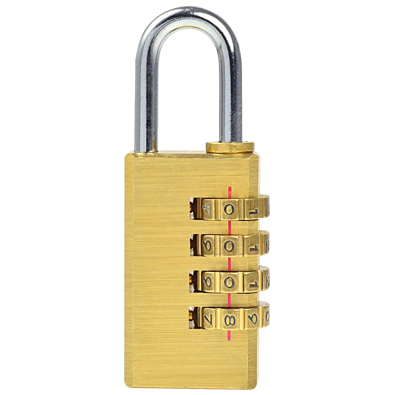 BRASS 4 Tumbler Resettable Combination Padlock TRAVEL Dial//Code//Number Bike Lock