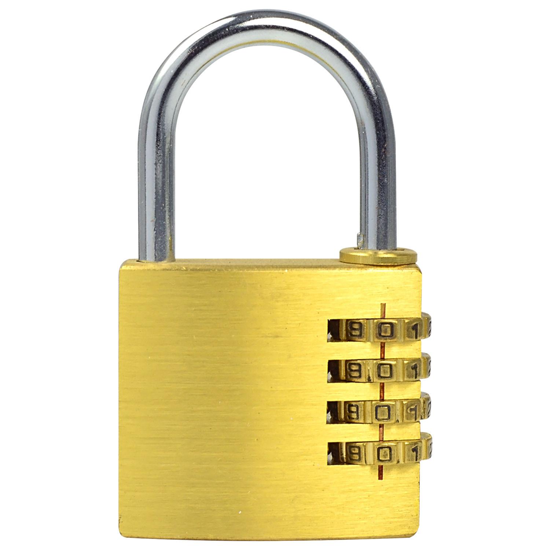 MENGS® MG406 Full Brass 4 Digit Resettable Combination Lock Password Plus Padlock for Travelling Bag and Door
