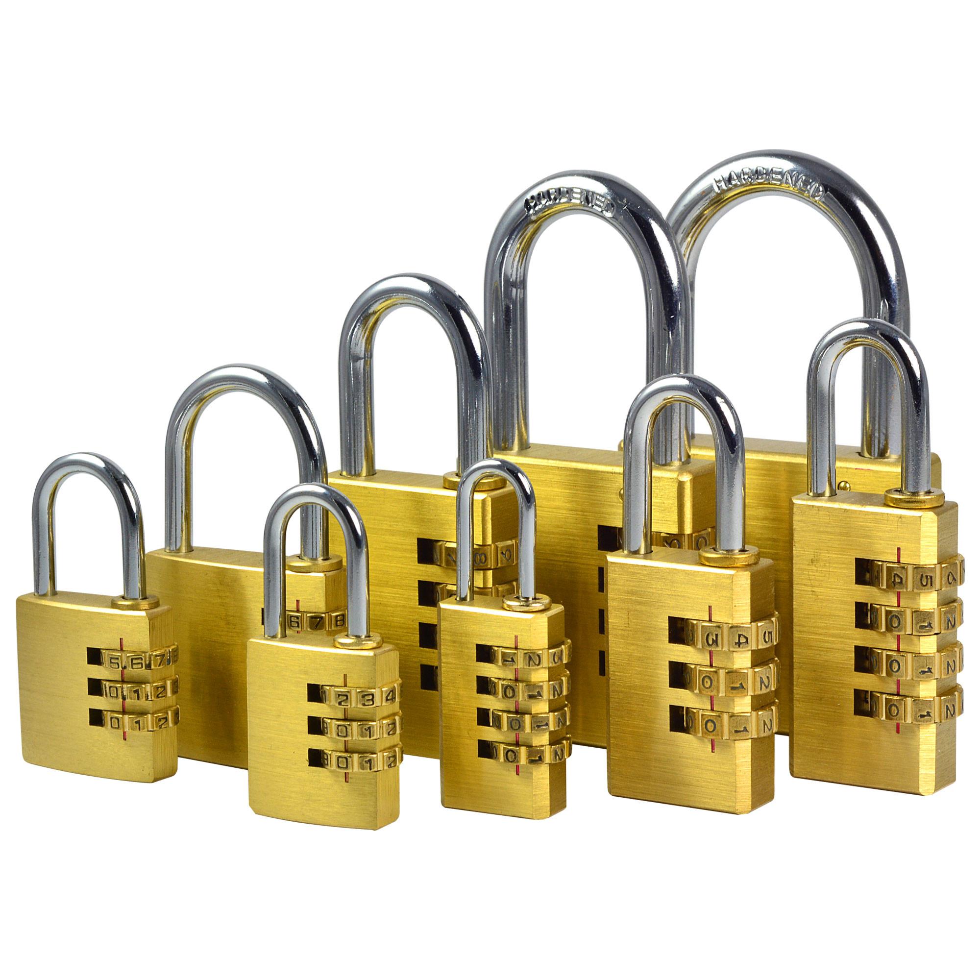 MENGS® One Set Of (9 Pieces) Full Brass Password Code Lock Combination Padlock Resettable for Travelling Bag Door