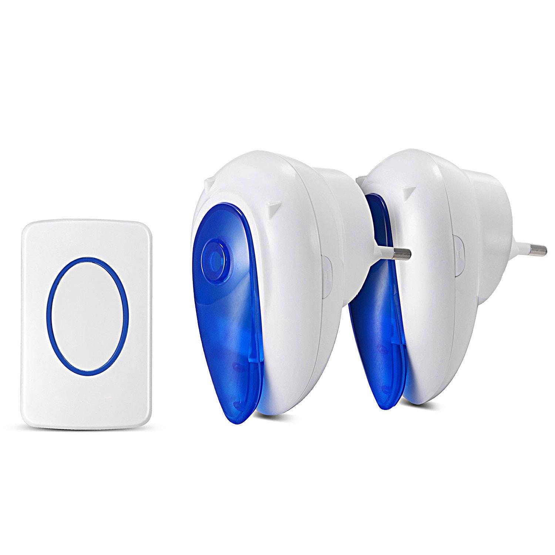 MENGS® Portable EU Plug-in Wireless Door Bell with LED Indicator 1 Outdoor Transmitter + 2 Indoor Wireless Doorbell Receiver