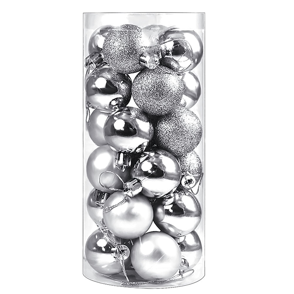 MENGS® 24Pcs 4cm Silver Christmas Baubles Ornaments Shatterproof Christmas Tree Balls Pendants Decorations