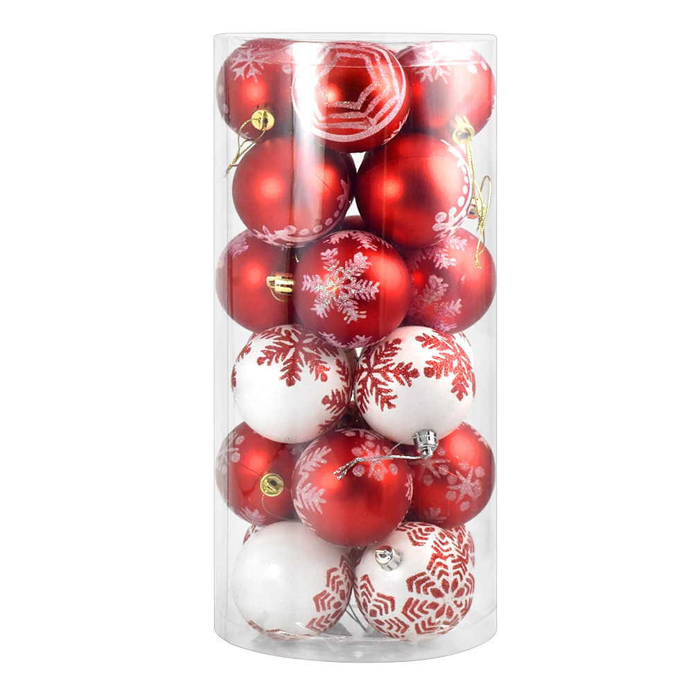 MENGS® 24 Pieces 60mm Delicate Painting & Glittering Christmas Tree Pendants Decorative Hanging Christmas Baubles Balls Ornaments Set - White & Red