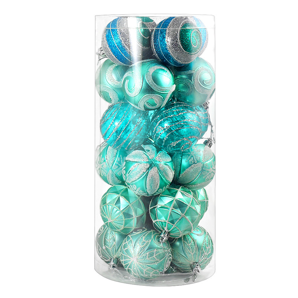 MENGS® 24 Pieces 60mm Delicate Painting & Glittering Christmas Tree Pendants Decorative Hanging Christmas Baubles Balls Ornaments Set - Blue