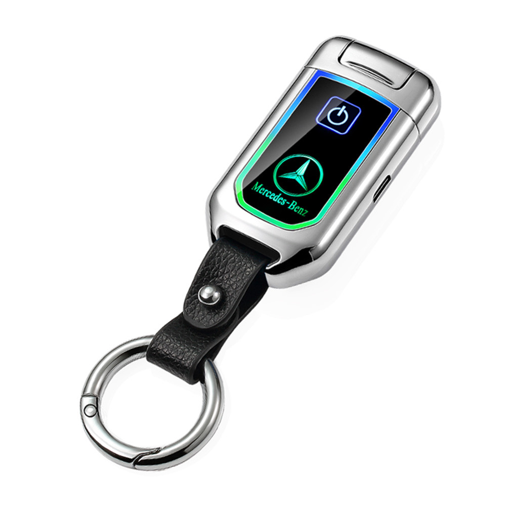 MENGS® 8003 Touch sensing USB Electric Rechargeable Lighter with Power Display Key Chain Windproof Dual Arc Plasma Lighter  - Silver Ice