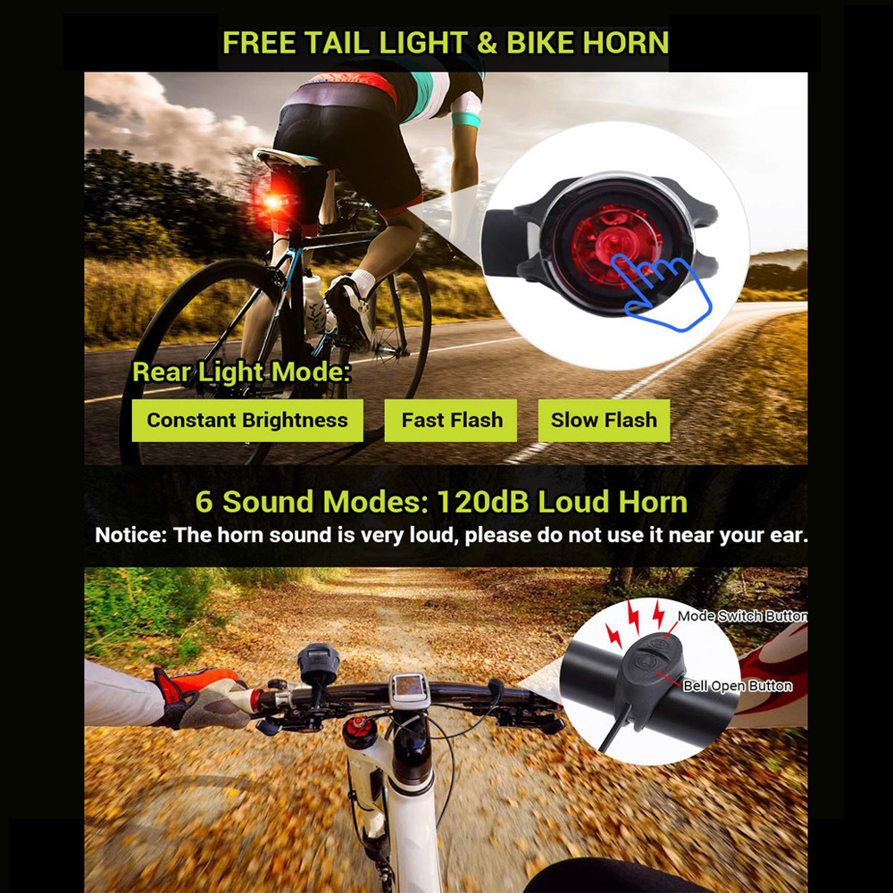 MENGS® Bicycle Light Set 240 Lumens LED Bicycle Headlight with Tail