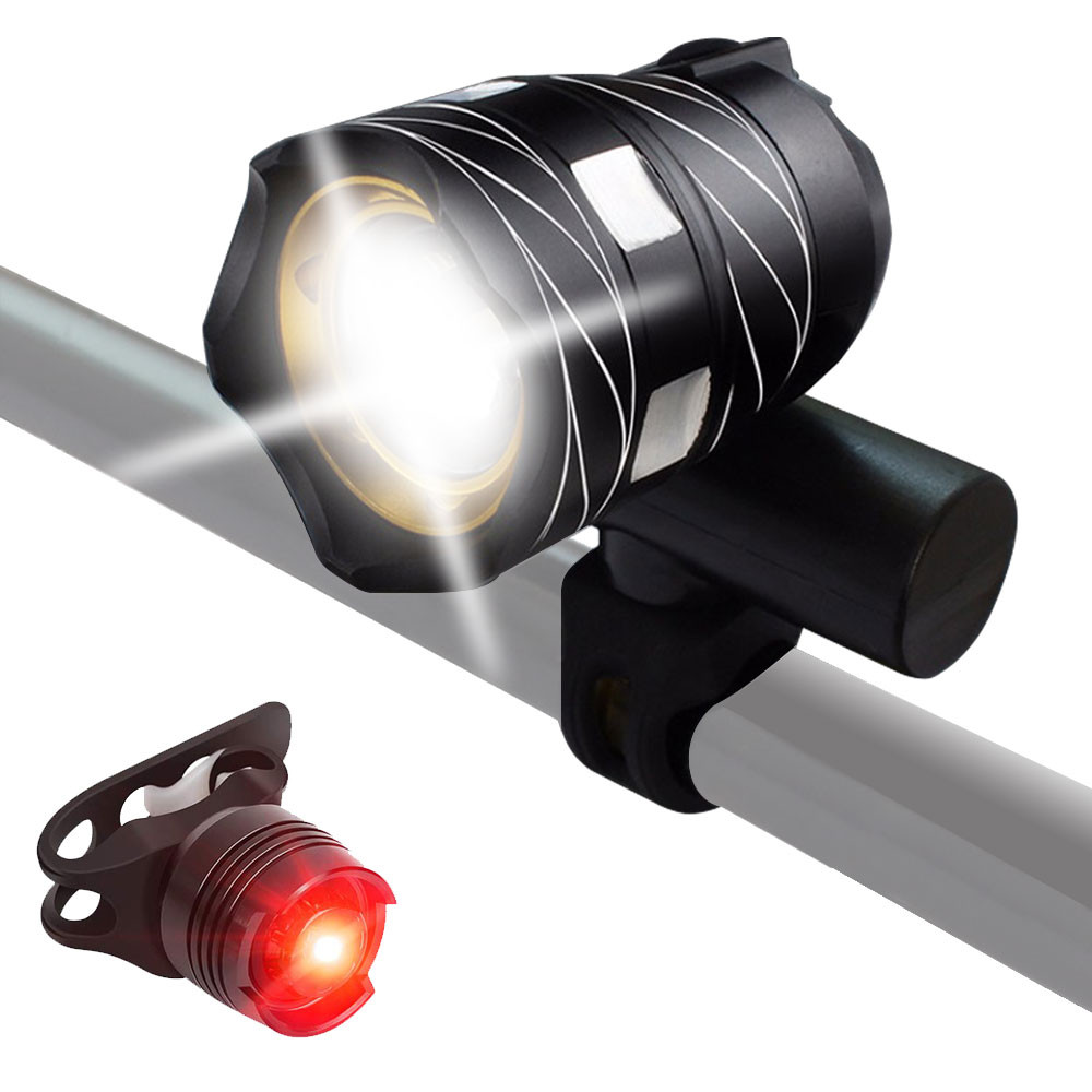 MENGS® Super Bright Bike Light Set, USB Rechargeable Metal Zoomable Cycling HeadLight With Rear Light, Water-Resistant, Velcro Strap Quick Release, Button Batteries CR2023 for the taillight included