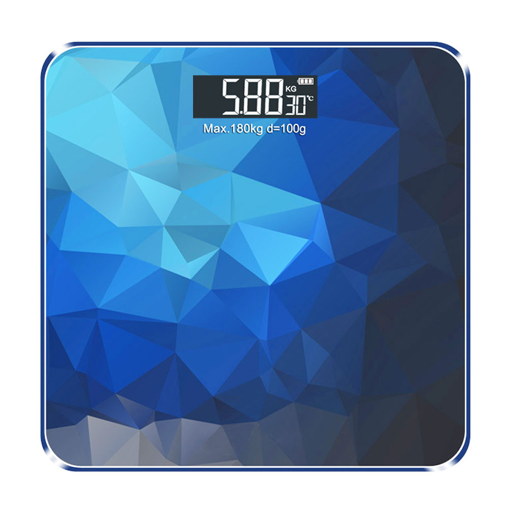 MENGS® USB Rechargeable Smart Digital Weight Scale with with Ultra Wide Platform and LCD Backlit Display - Deep Blue