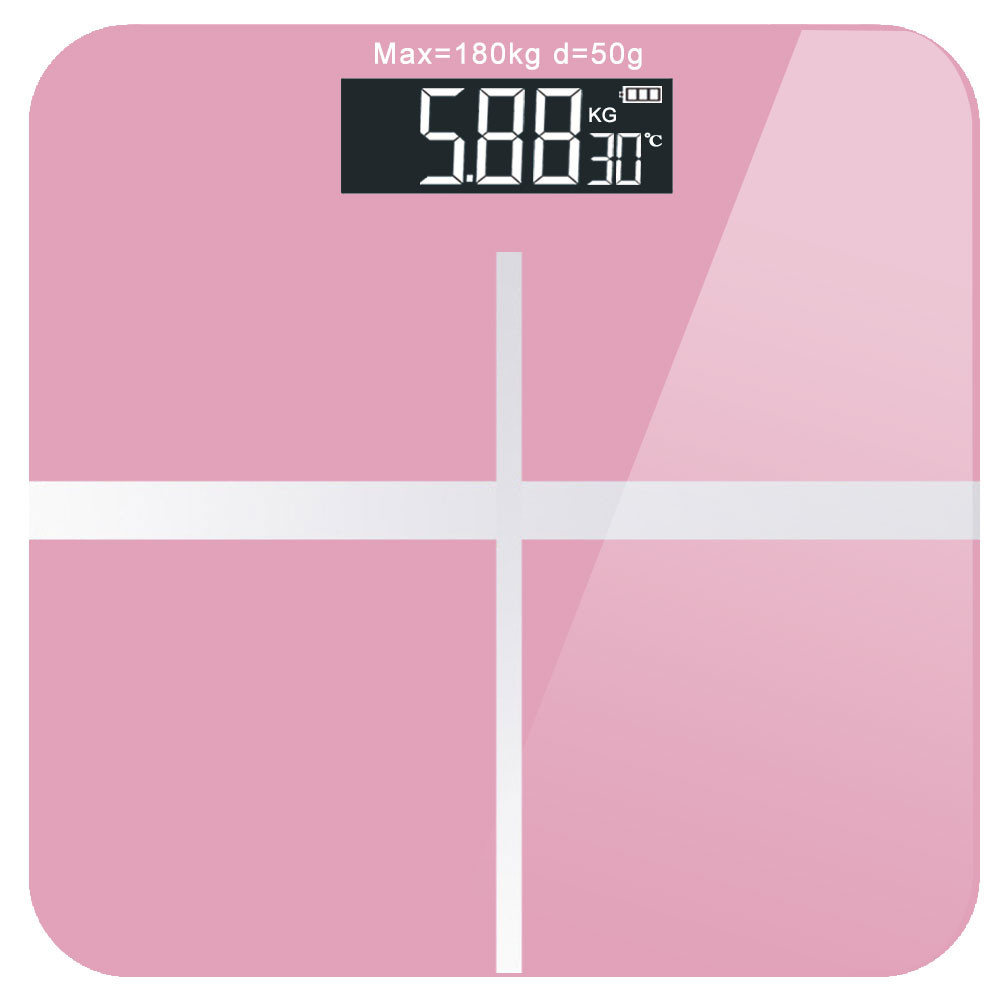 MENGS® USB Rechargeable Smart Digital Weight Scale with with Ultra Wide Platform and LCD Backlit Display - Pink