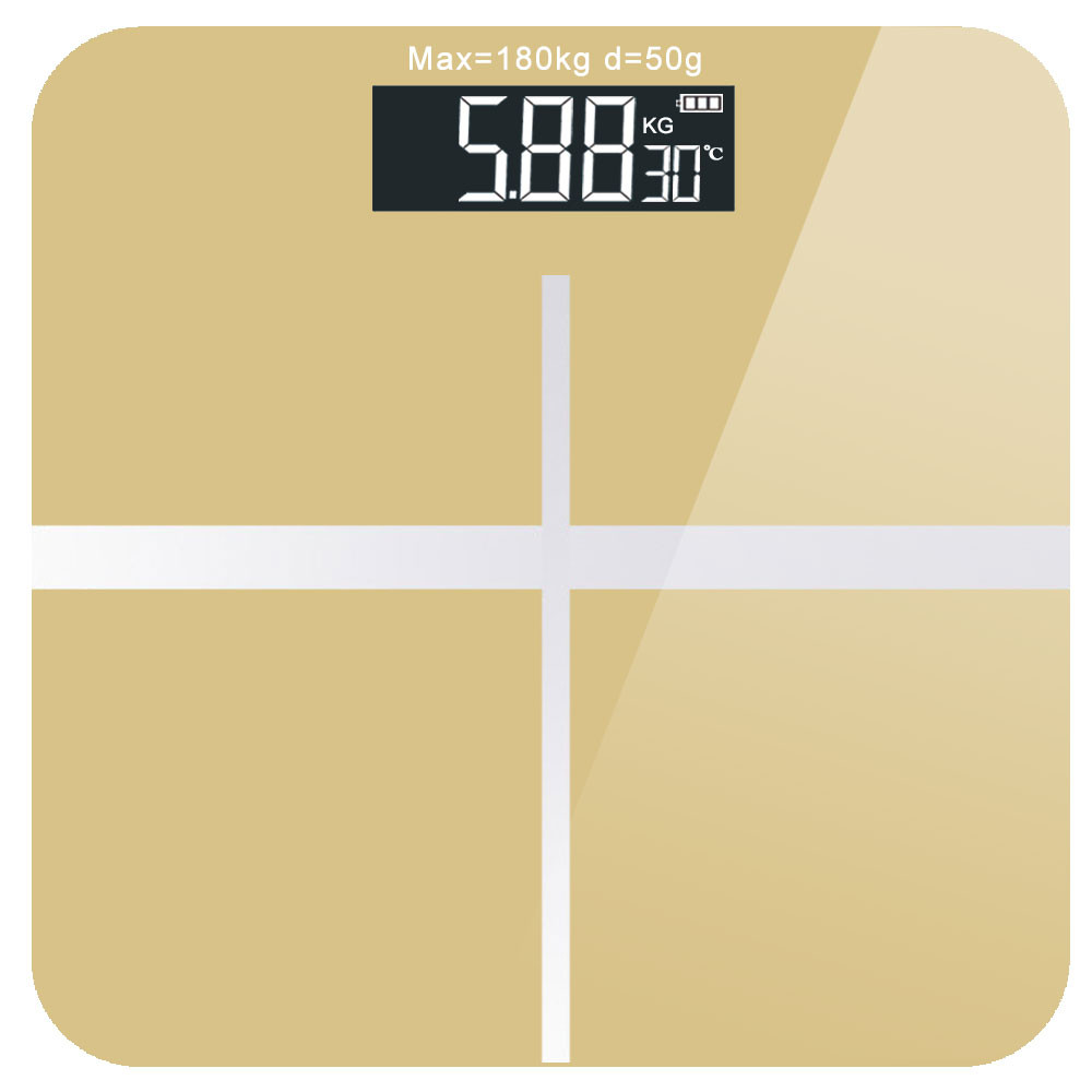 MENGS® USB Rechargeable Smart Digital Weight Scale with with Ultra Wide Platform and LCD Backlit Display - Golden