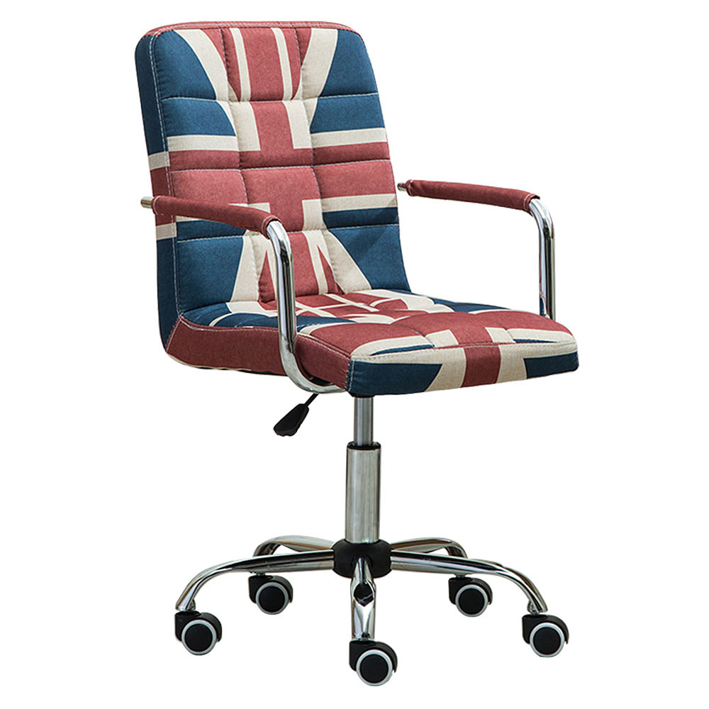 MENGS® OC-03 Office Chair with 360 Degree Swivel and Adjustable Seat Height With Steal + linen + Sponge For Office and Home (Union Jack)