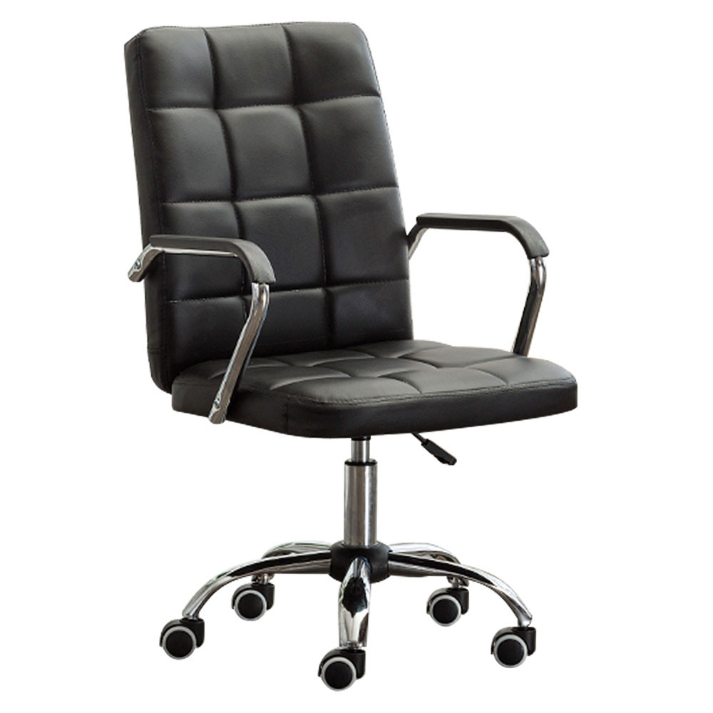 MENGS® OC-04 Office Chair with Armrest With Steal + PU + Sponge For Office and Home (Black)