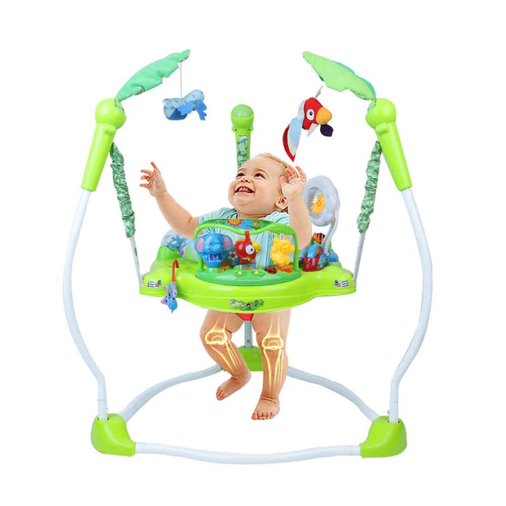 MENGS® Multifunctional Baby Jumper Chair Infant Rocking Chair Swing Tropical Rainforest Baby Swing Chair Ring Fitness Jumpers Bouncing Chair Gym Toys for Kids Children