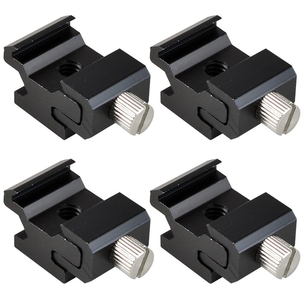 MENGS® 4Pcs 360 Degree Universal Cold Flash Hot Shoe Bracket Lamp Holder 1/4 inch Screw Adapter Mount