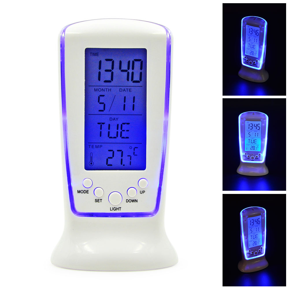 MENGS® 510 Fashion LCD Alarm Clock With Calendar Digital Clock Thermometer LED Blue Backlight Birthday Gift For Children