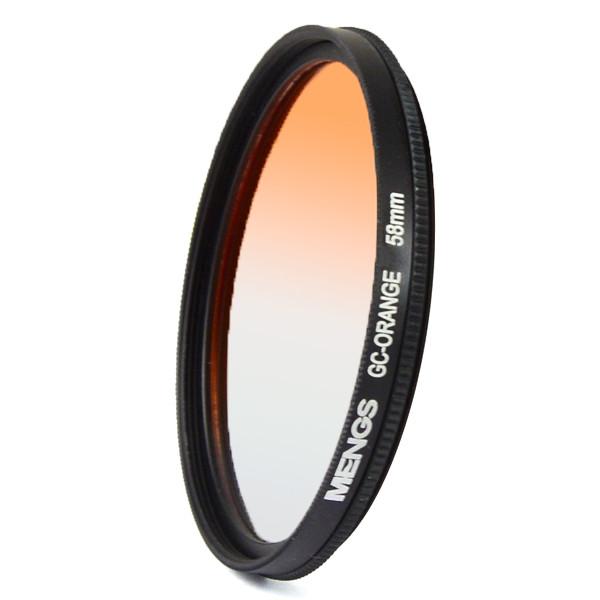MENGS® 58mm Graduated ORANGE Lens Filter With Aluminum Frame for Canon Nikon Sony Fuji Pentax Olympus etc digital camera