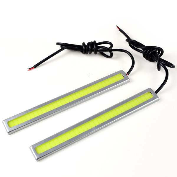 MENGS® 1Pair 144mm Waterproof Daylight DC 12V White 6W COB LED Light DRL Daytime Running Light Auto Lamp Aluminum Chip Bar - Sliver Frame