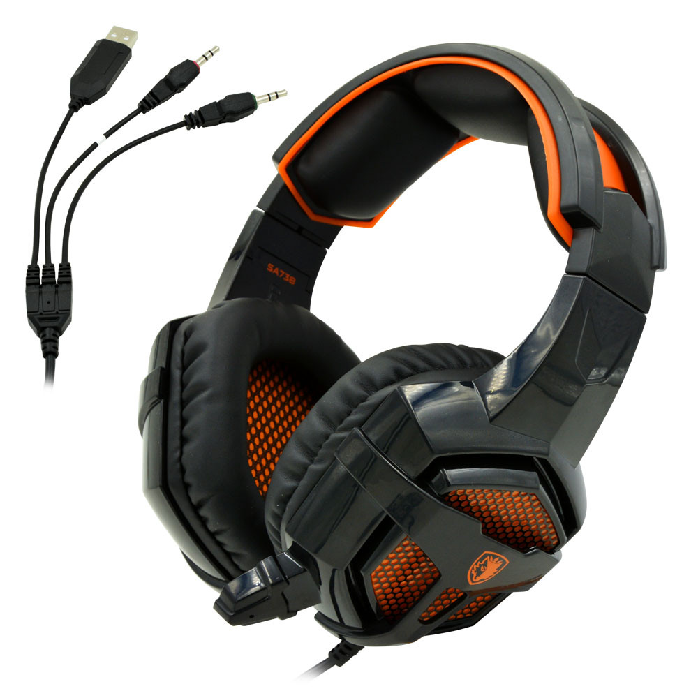 SADES® SA738 Stereo Gaming Wired Microphone Headset With USB + 3.5mm Plug Provide Vigorous Bass And Soft Earpads For Music, Movie, Gaming, Chat etc
