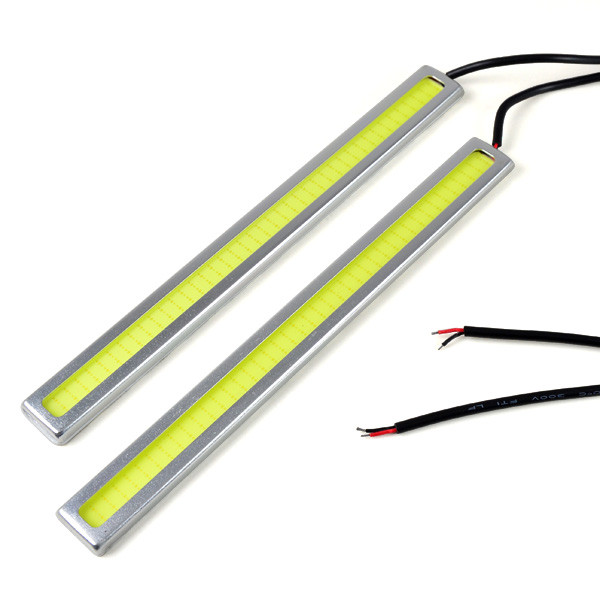 MENGS® 1Pair 178mm Waterproof Daylight DC 12V White 7W COB LED Light DRL Daytime Running Light Auto Lamp Aluminum Chip Bar - Sliver Frame