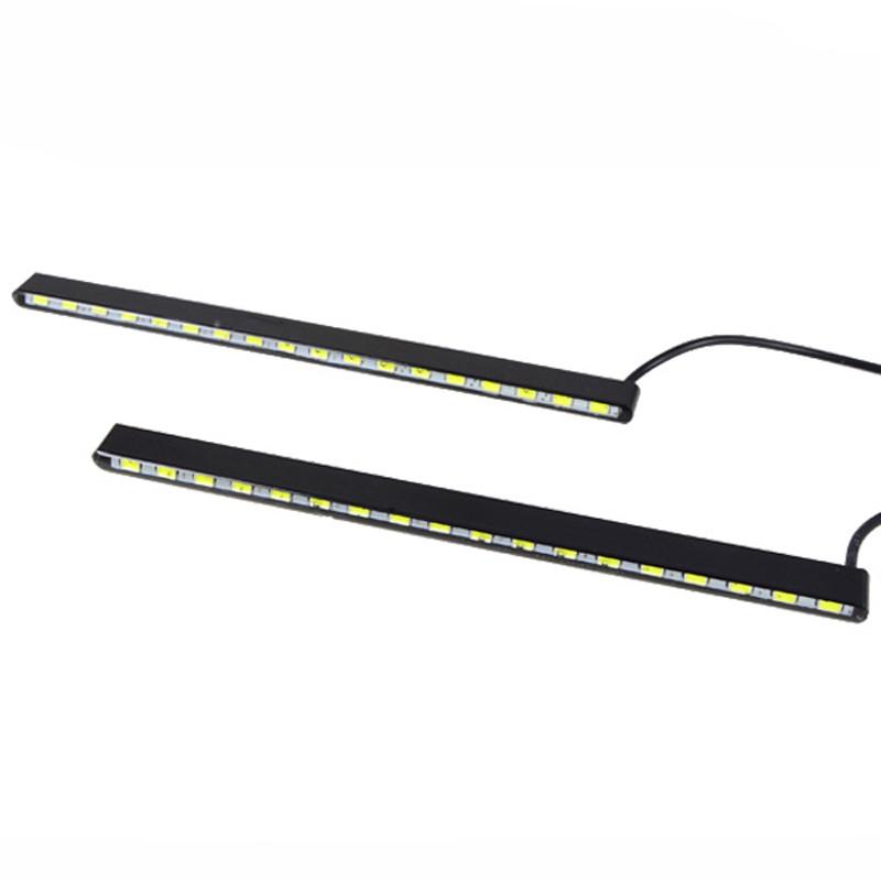 MENGS® 1Pair 185mm 11W Waterproof Daylight DC 12V 18x 7030 SMD LEDs LED Light DRL Daytime Running Light Auto Lamp Aluminum Chip Bar In White