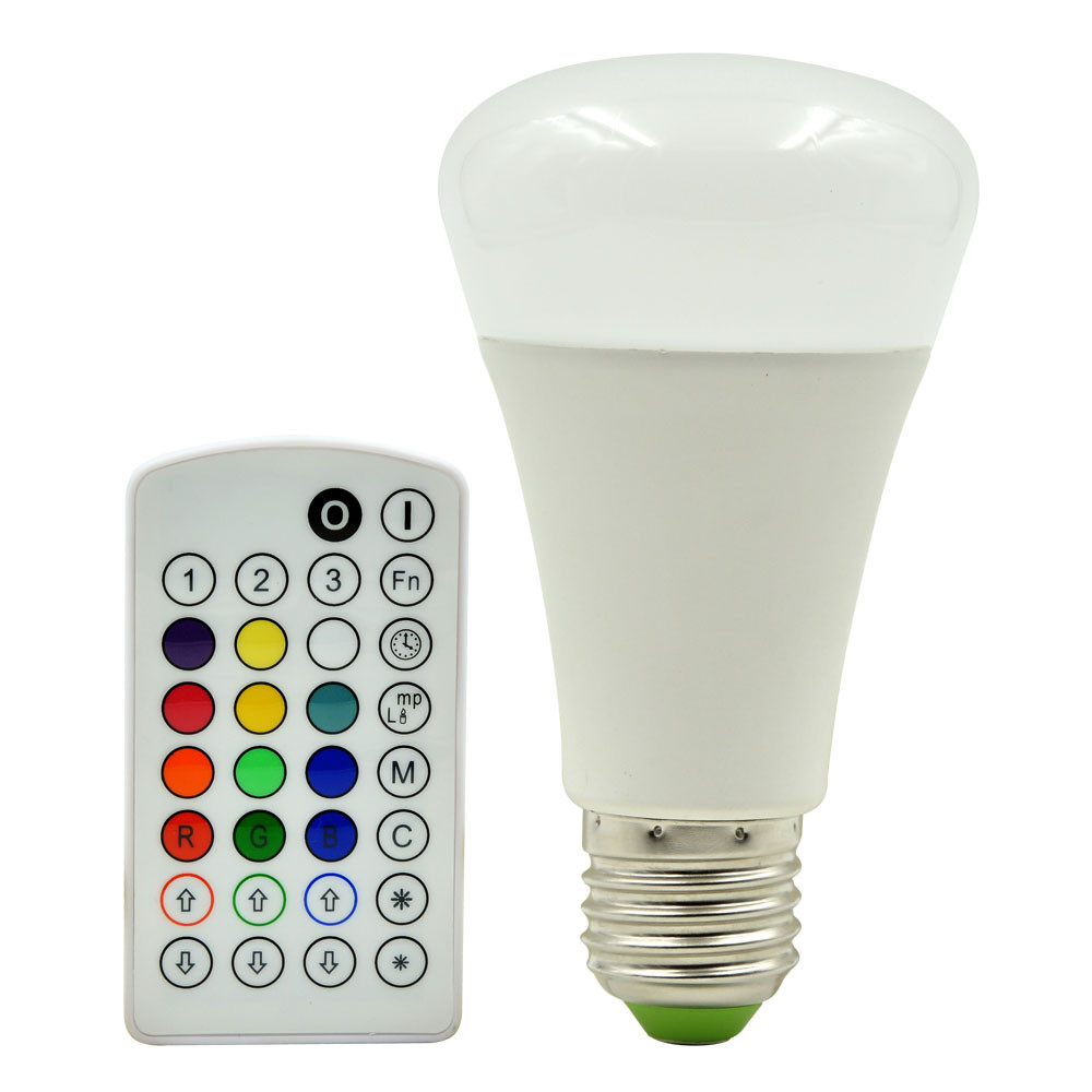 MENGS® E27 10W LED RGB Globe Lamp - All In One Music & Warm White/Cool White/Nature Light & RGB Bulb 16 Colour Changing LED Globe Lamp Bulb + IR Remote