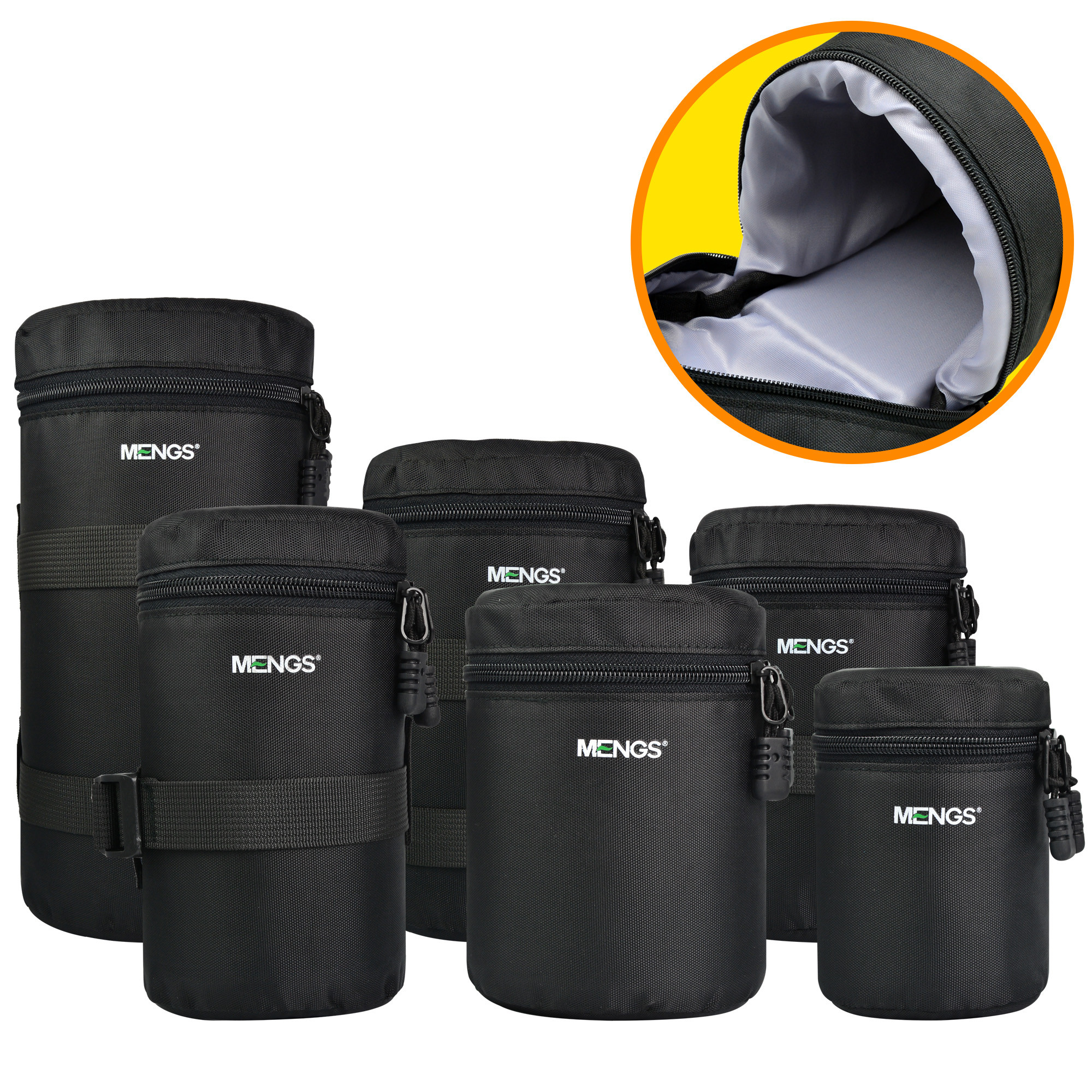 MENGS® 6 Sizes Multi Pack (S, M, L, XL, XXL, XXXL ) Nylon material Padded camera lens bag Lens Barrel Bags case pouch suit for Canon Nikon Sony Camera etc DSLR