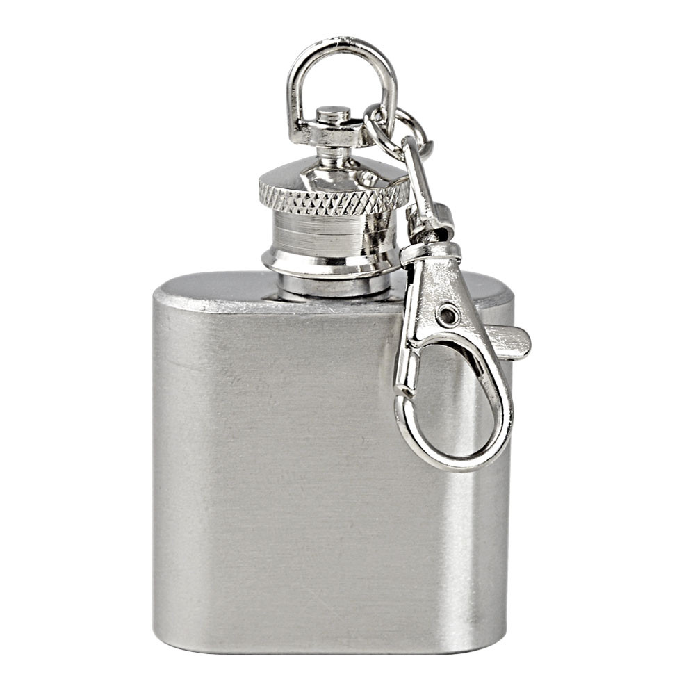 MENGS® 1oz High Polished Stainless Steel Mini Hip Liquor Alcoh Hip Flask Keyring