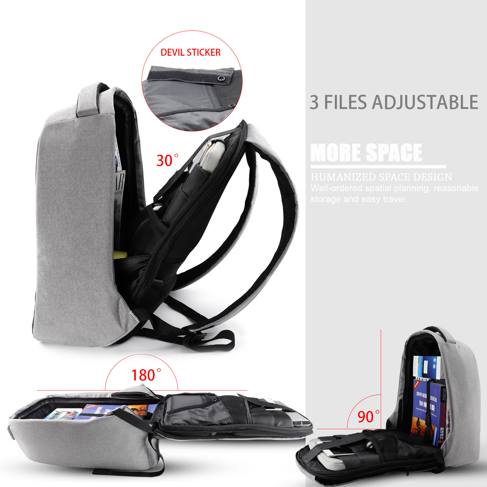 MENGS® Anti Theft Charging Backpack, 15.6 inch Laptop Backpack with USB Charging Port Waterproof Checkpoint Friendly Business Travel Backpack