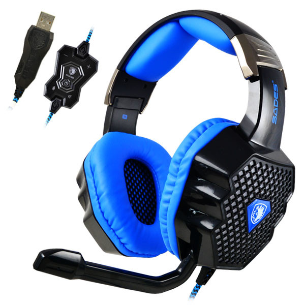 SADES® A70 7.1CH Sound Effect Headband Gaming Headset Wired Game Headphone with Microphone for PC Laptop Notebook