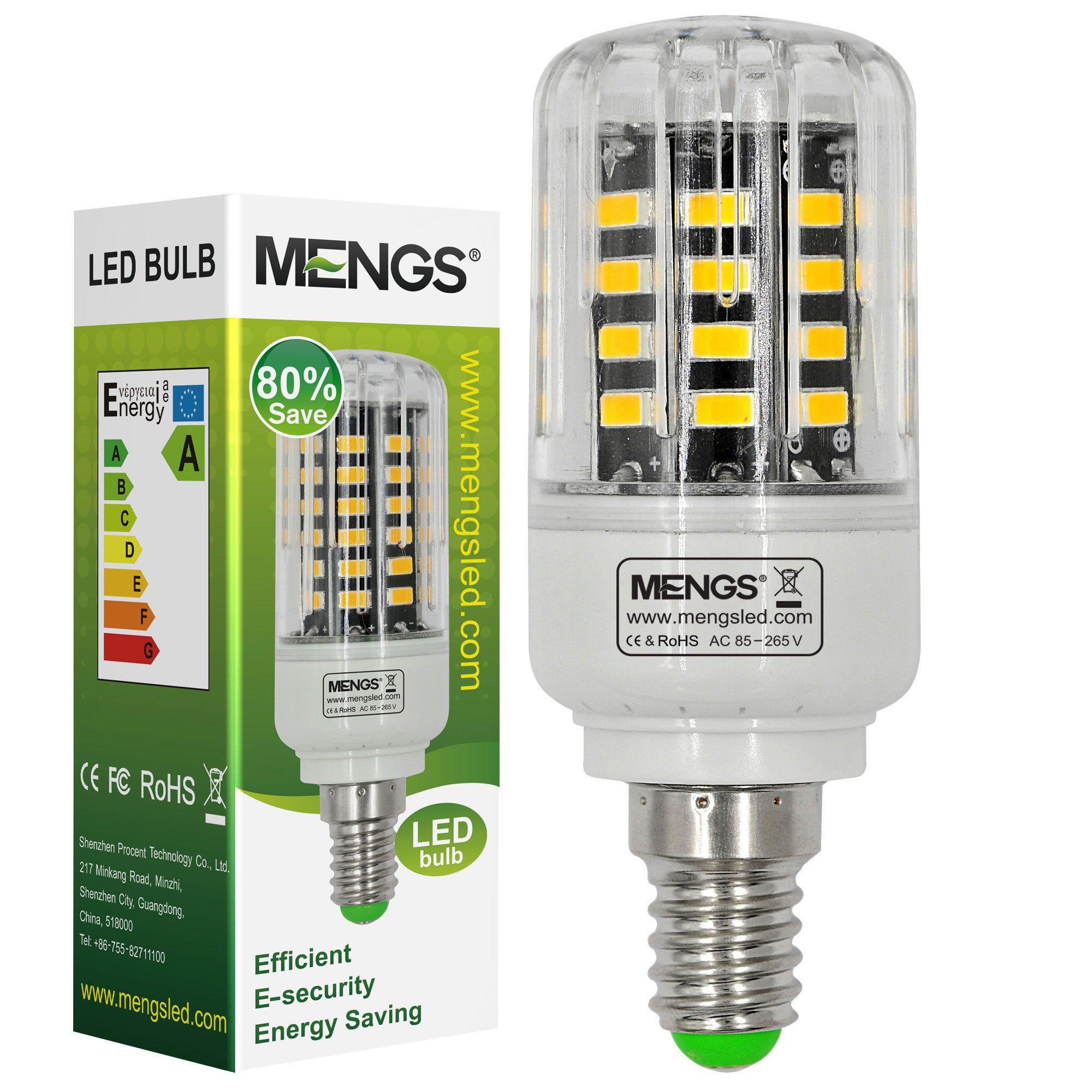 MENGS® Anti-Strobe E14 5W LED Corn Light 40x 5736 SMD LED Bulb Lamp In Cool White Energy-Saving Lamp