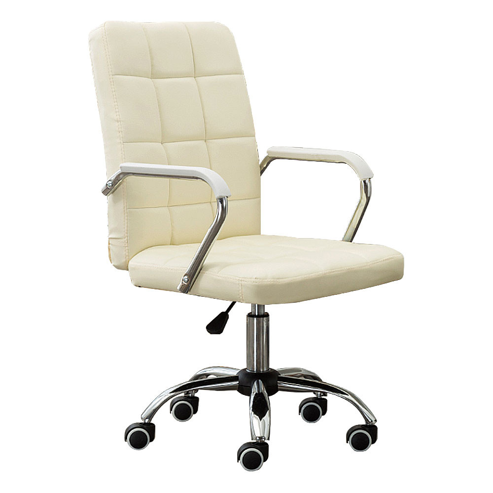 MENGS® OC-02 Office Chair with 360 Degree Swivel and Adjustable Seat Height With Steal + PU + Sponge For Office and Home (Creamy White)