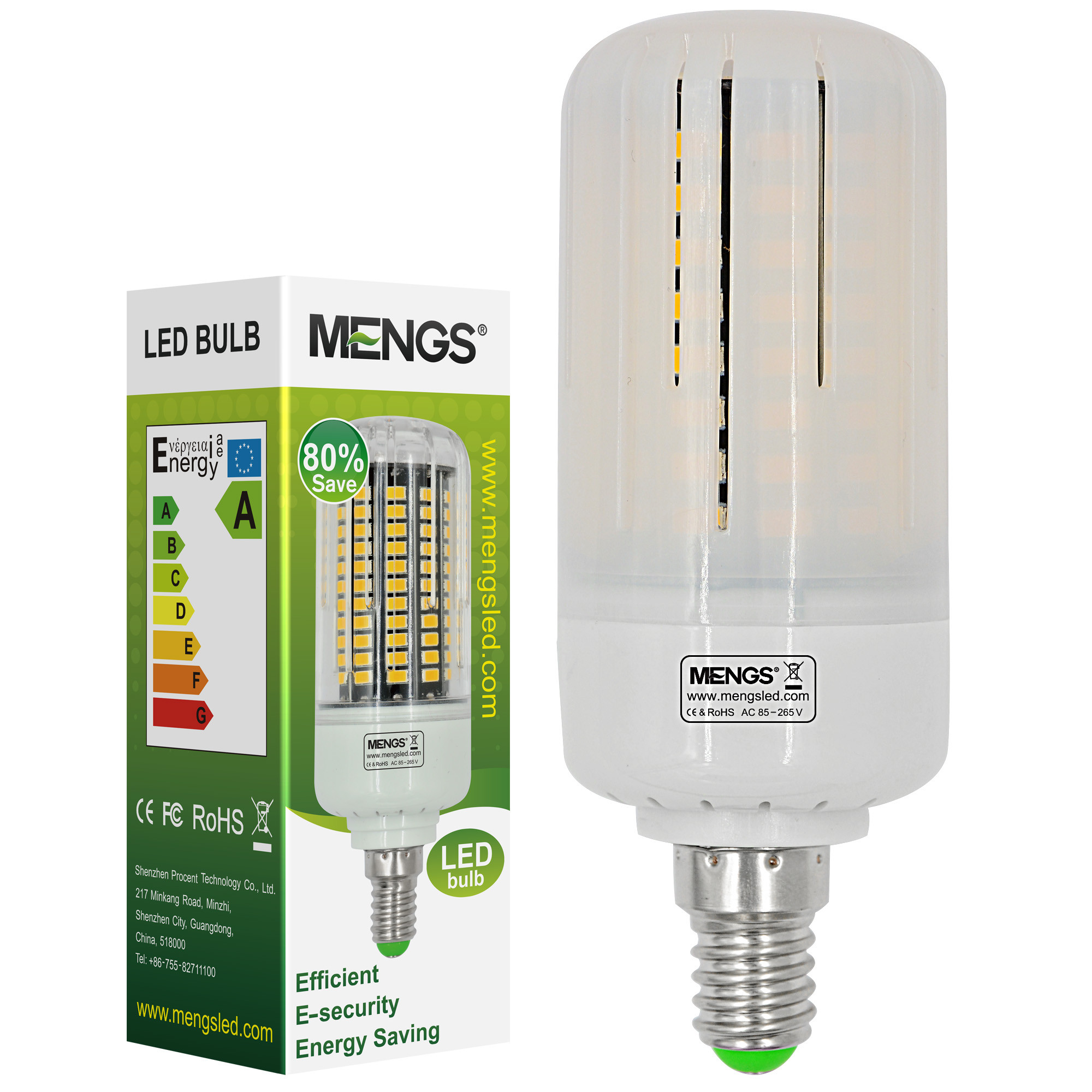 MENGS® Anti-Strobe E14 12W LED Corn Light 100x 5736 SMD LB LED Bulb Lamp In Warm White Energy-Saving Lamp
