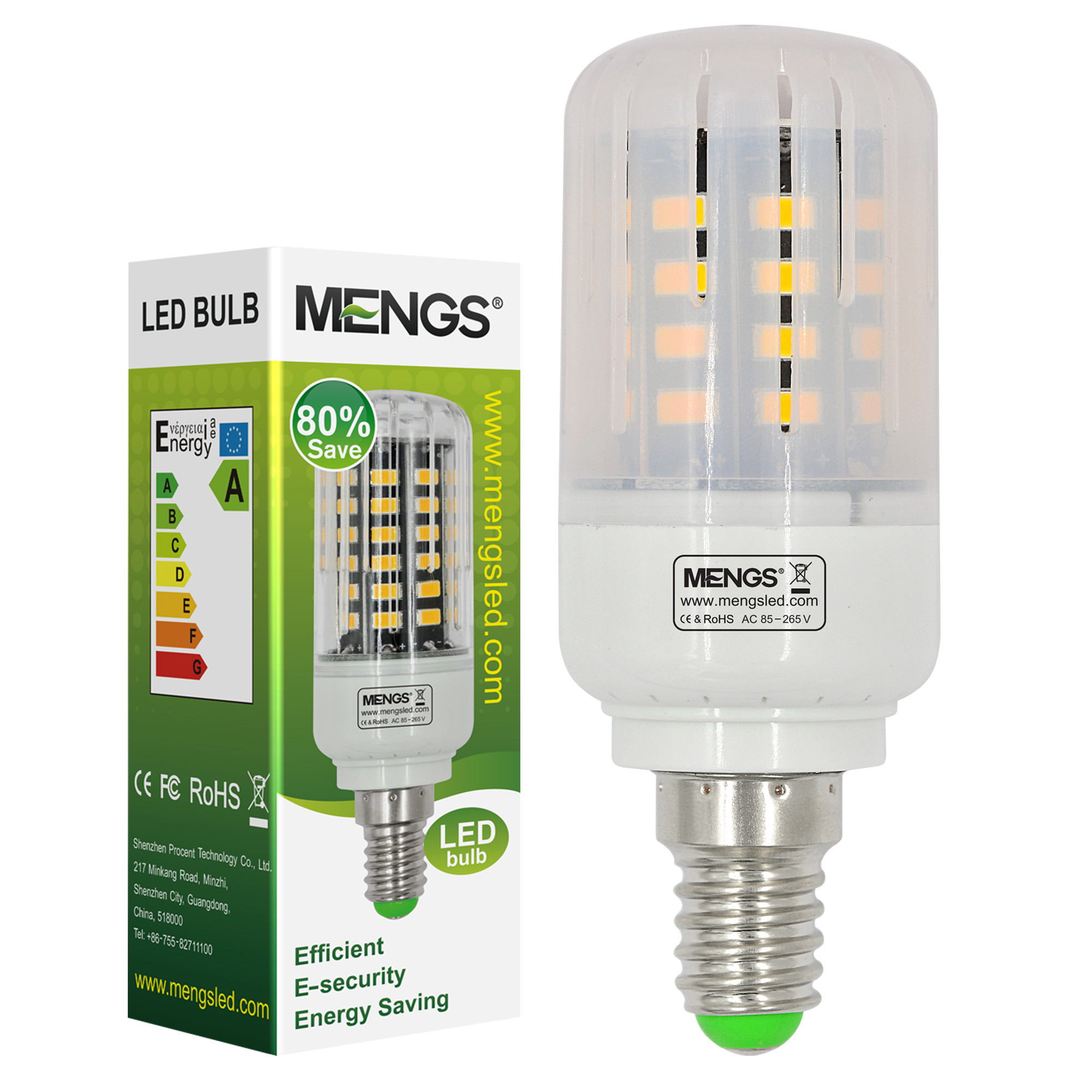 MENGS® Anti-Strobe E14 5W LED Corn Light 40x 5736 SMD LB LED Bulb Lamp In Warm White Energy-Saving Lamp