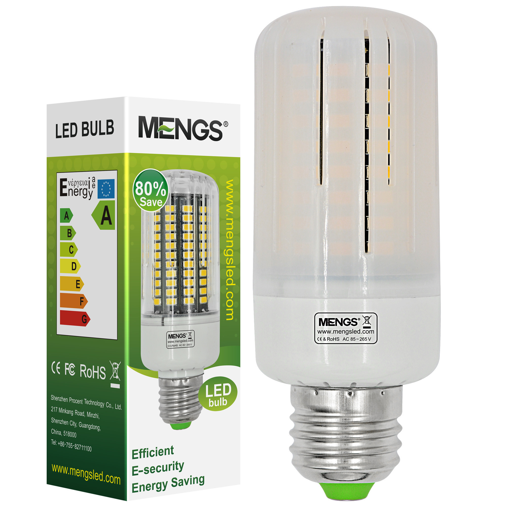 MENGS® Anti-Strobe E27 12W LED Corn Light 100x 5736 SMD LB LED Bulb Lamp In Cool White Energy-Saving Lamp