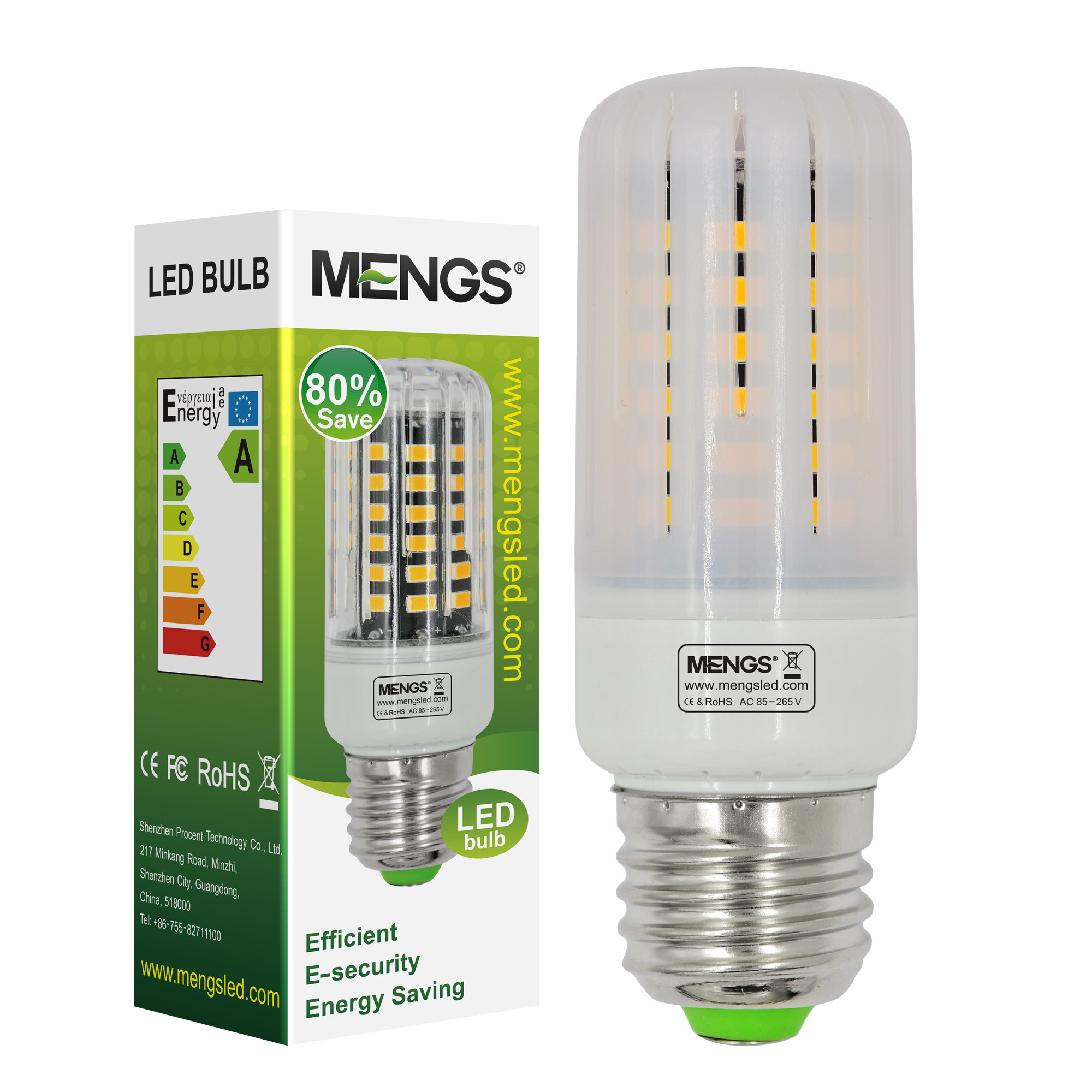 MENGS® Anti-Strobe E27 7W LED Corn Light 56x 5736 SMD LB LED Bulb Lamp In Cool White Energy-Saving Lamp