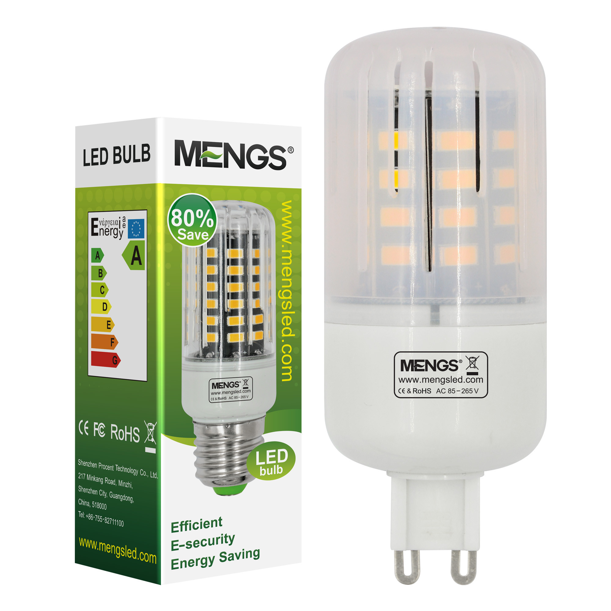 MENGS® Anti-Strobe G9 5W LED Corn Light 40x 5736 SMD LB LED Bulb Lamp In Cool White Energy-Saving Lamp