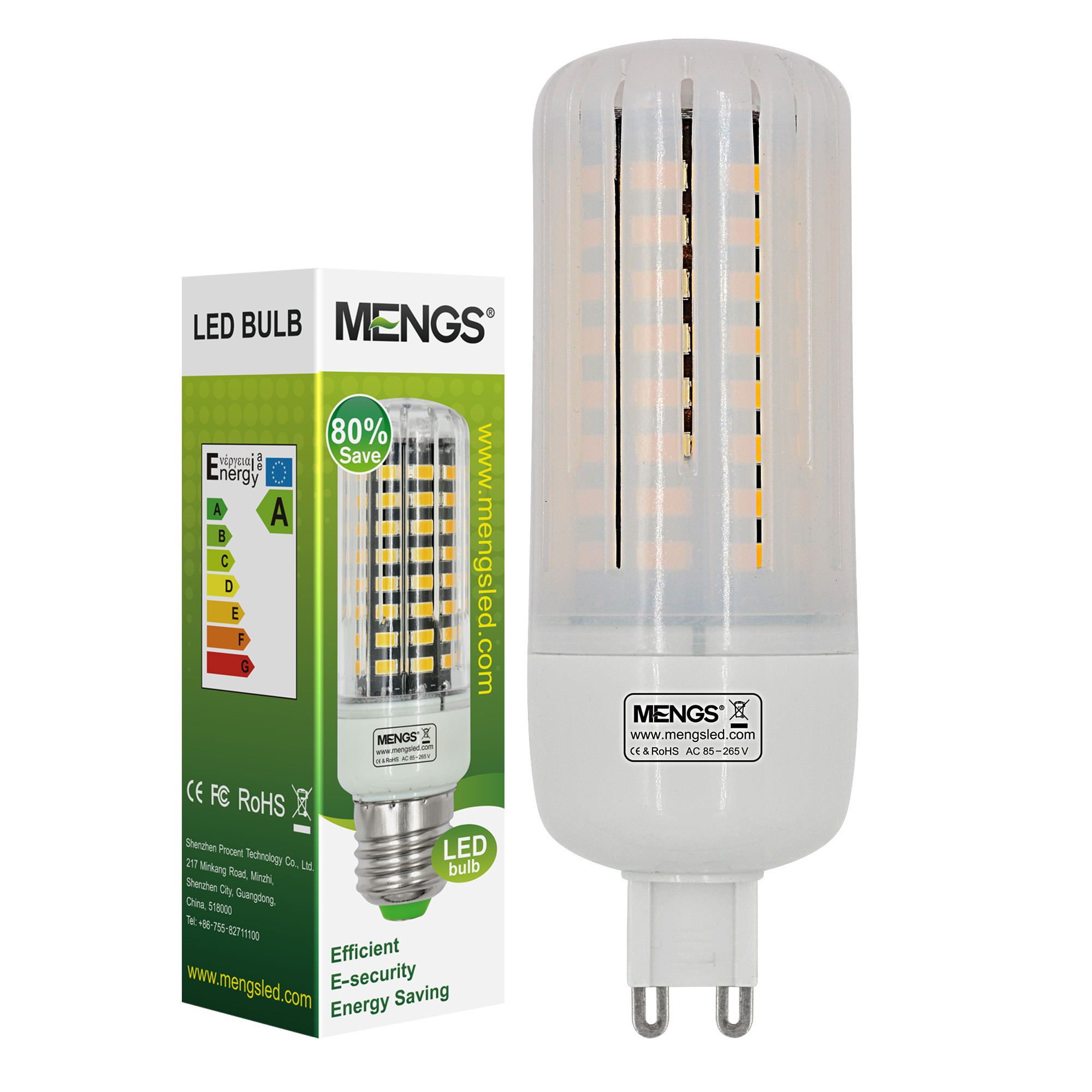 MENGS® Anti-Strobe G9 9W LED Corn Light 72x 5736 SMD LB LED Bulb Lamp In Warm White Energy-Saving Lamp