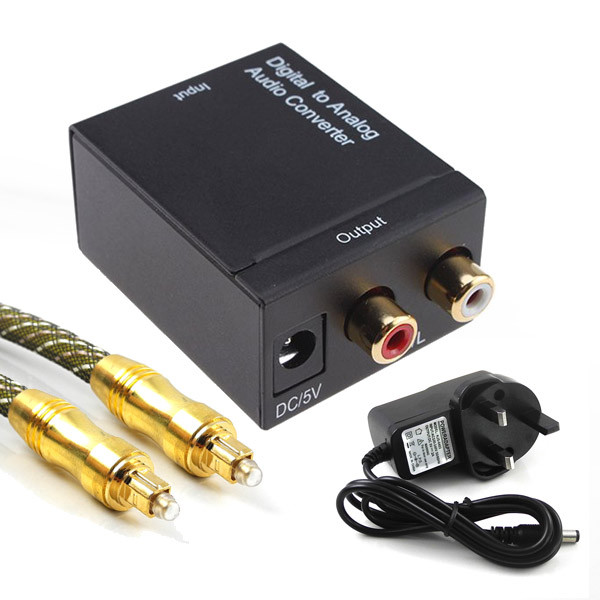 MENGS® Optical Coaxial Signal to Analog Audio RCA L/R Converter + 1.5M Toslink Cable