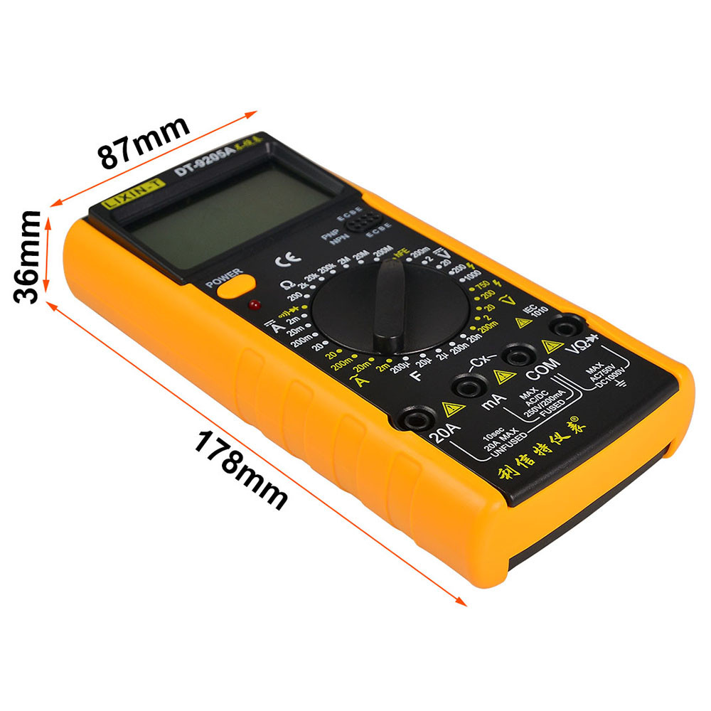Dt 9205a Ac Dc Handhold Lcd Display Dmm Digital Multimeter Full Converter Measuring Voltage From Mengs Range Protection Auto Power Off Tester Meter