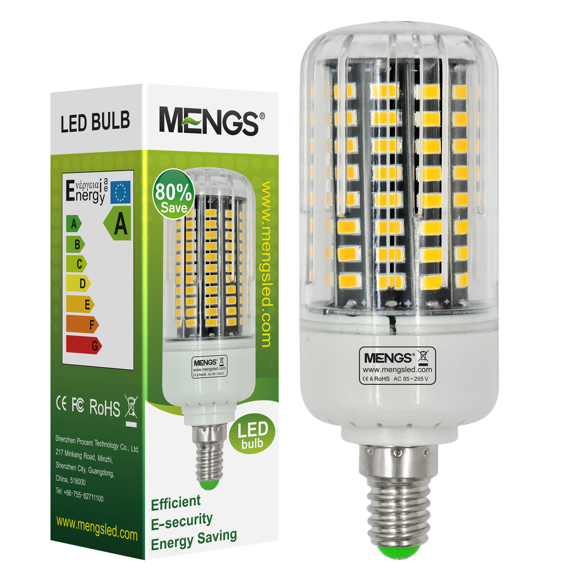 MENGS® Anti-Strobe E14 12W LED Corn Light 100x 5736 SMD LED Bulb Lamp In Cool White Energy-Saving Lamp
