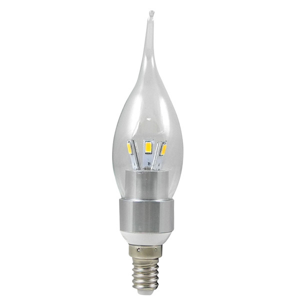 MENGS® E14 3W LED Bent Tip Candle Light 6 SMD LEDs LED Lamp Bulb in Warm White Energy-Saving Lamp - Silver