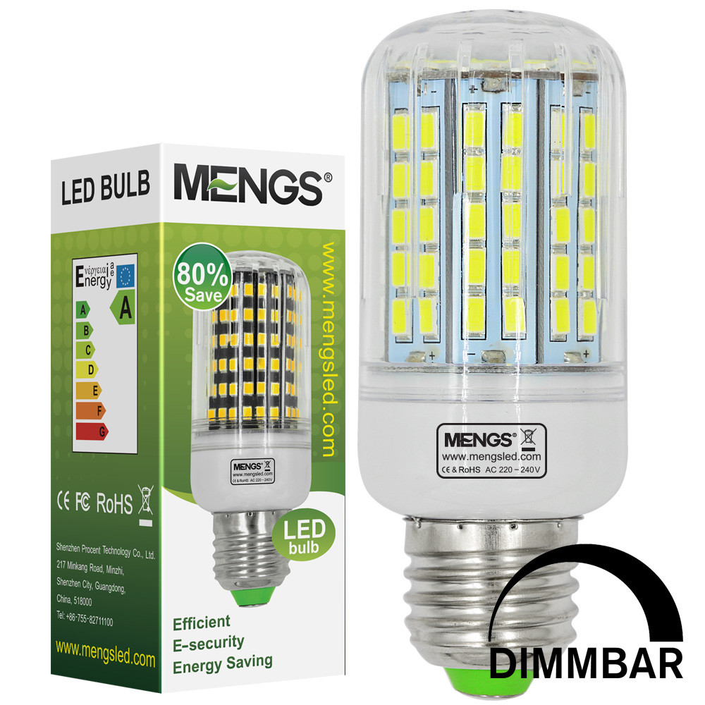 MENGS® E27 15W LED Dimmable Corn Light 96x 5730 SMD LED Bulb Lamp in Cool White Energy-Saving Light